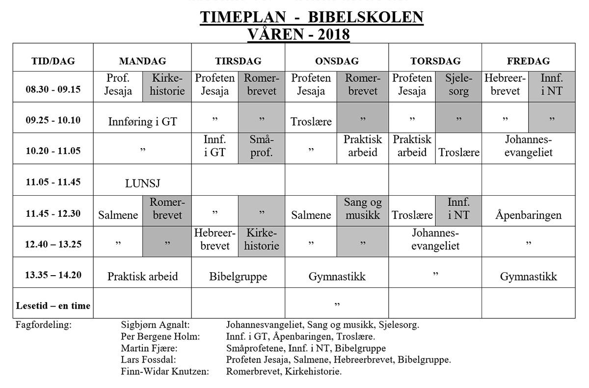 Timeplan Våren 2018